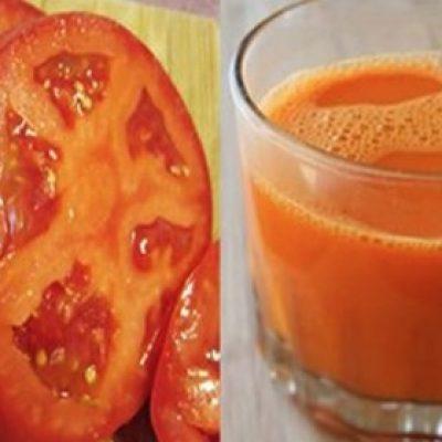 Jugo de tomate sin sal para reducir el colesterol y la presión