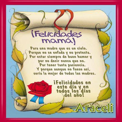Diploma a la Mejor Madre del Mundo,Araceli