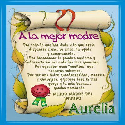 Diploma a la Mejor Madre del Mundo, Aurelia