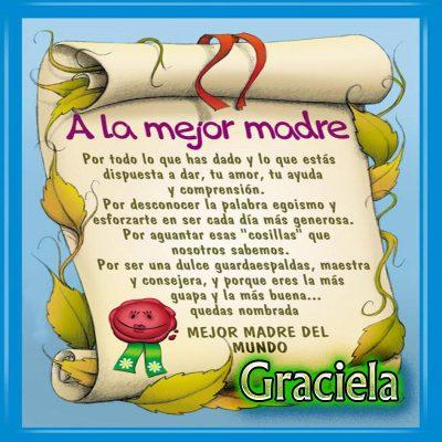 Diploma a la Mejor Madre del Mundo,Graciela