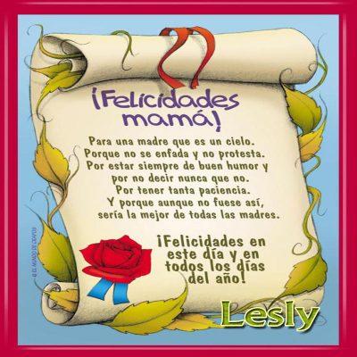 Diploma a la Mejor Madre del Mundo,Lesly