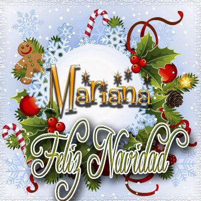Feliz Navidad, Tarjetas con tu Nombre!!!  Mariana