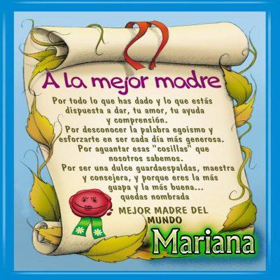 Diploma a la Mejor Madre del Mundo,Mariana