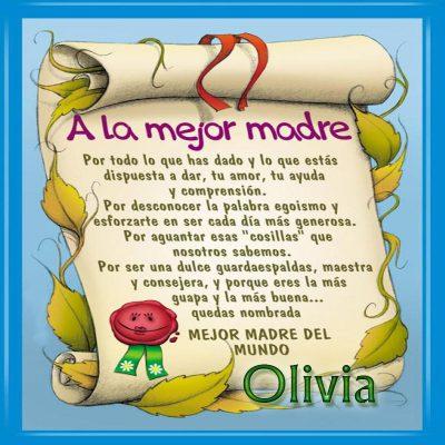 Diploma a la Mejor Madre del Mundo,Olivia