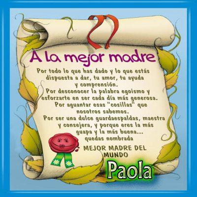 Diploma a la Mejor Madre del Mundo,Paola