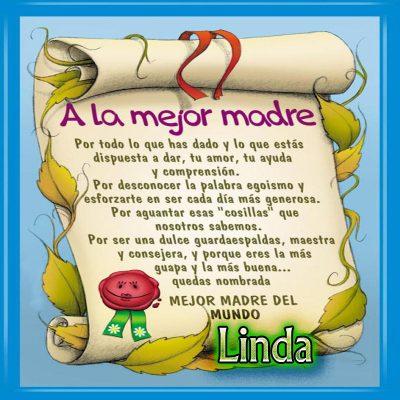 Diploma a la Mejor Madre del Mundo,Linda
