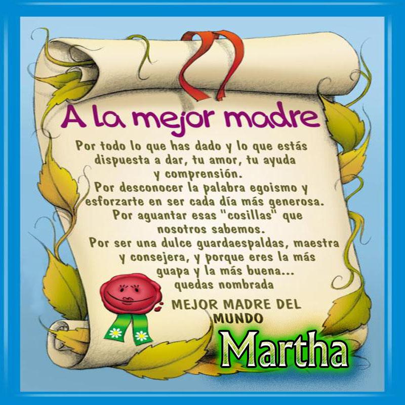 Diploma a la Mejor Madre del Mundo,Martha