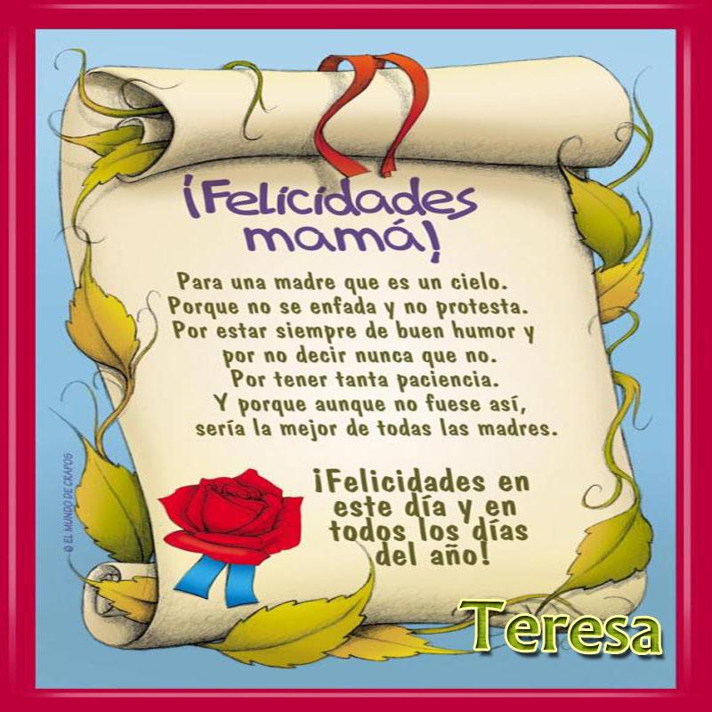 Diploma a la Mejor Madre del Mundo,Teresa