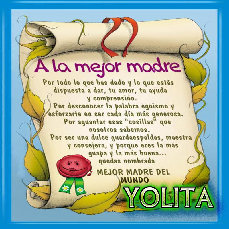Diploma a la Mejor Madre del Mundo,YOLITA