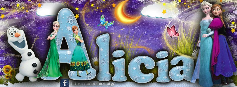 Portadas para tu Facebook con tu nombre de Frozen,Alicia