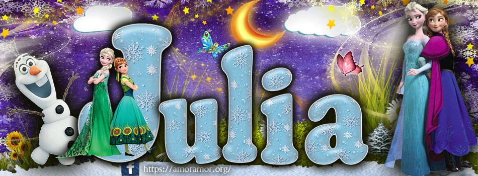 Portadas para tu Facebook con tu nombre de Frozen,Julia