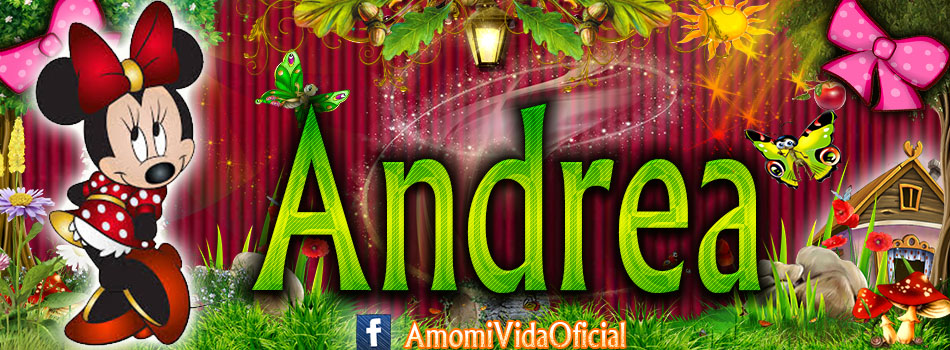 Nuevas Portadas para tu Facebook con tu nombre de Minnie y Mickey,Andrea