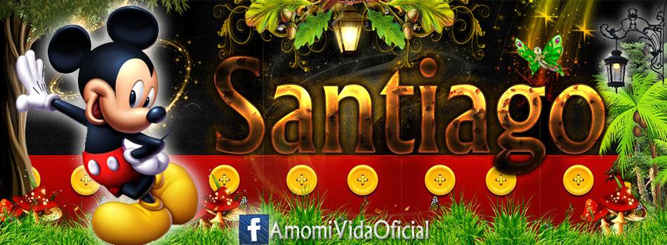Nuevas Portadas para tu Facebook con tu nombre de Minnie y Mickey,Santiago